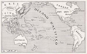 Cartina Oceano Pacifico.D4466 L Oceano Pacifico Mappa Geografica D Epoca 1942 Vintage Map Ebay