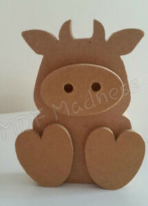 WOODEN 3D COW BULL MDF CRAFT SHAPE 15MM FREE STANDING 15CM HIGH