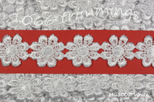 Guipure Daisy Lace White Trim Applique Flower Motifs 23mm