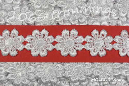 Guipure Daisy Lace White Trim Applique Flower Motifs 23mm