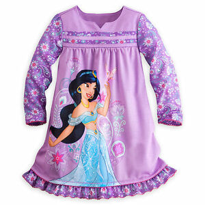 Disney store aladdin princess jasmine long sleeve nightgown pajama girl 5 6 ebay - Robe jasmine disney ...