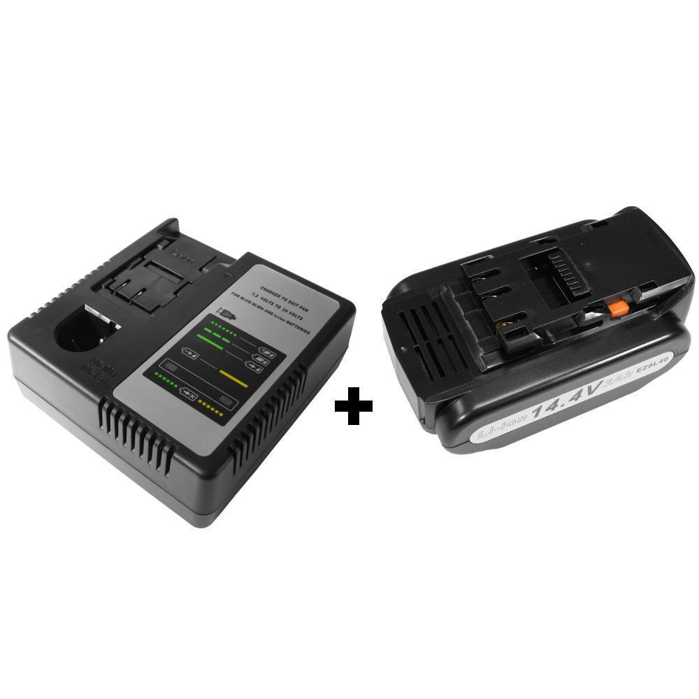 Set: Ladegerät + AKKU 14,4V Li-Ion 4000mAh für Panasonic EZ3744 EZ37C1 EZ4540