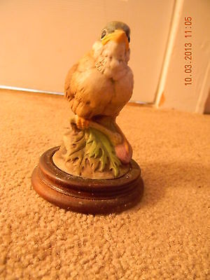 Gold Finch Porcelain Baby Bird Figurine with Wood Base, Andrea