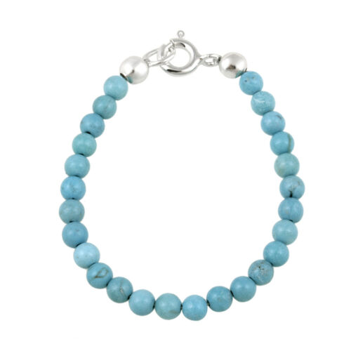 925 Silver Magnesite Turquoise Beads Baby Bracelet 4 Inches