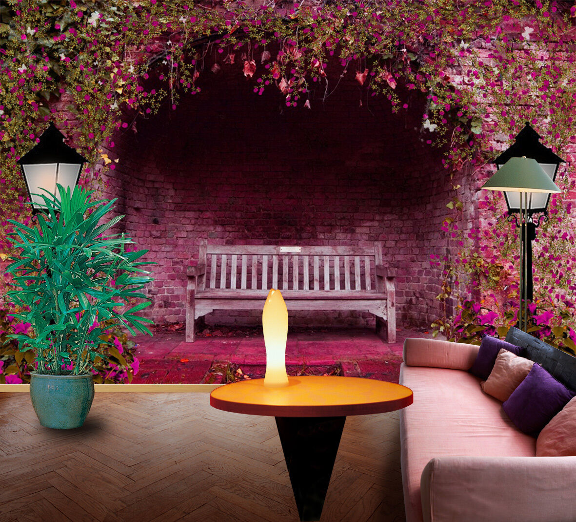 3D Flowers, benches 47 Wall Paper Print Wall Decal Deco Indoor Wall Murals