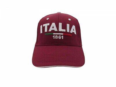 Cappello Italia Ricamato Misura 58 Cm Regolabile 1861 Anno Nascita Stato Rosso Moda Attraente