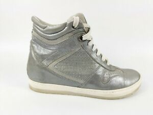 Dune Silver Leather Wedge Hi Top