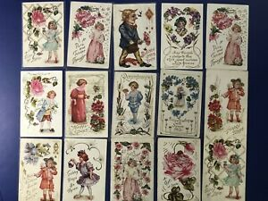 15-Classic-Children-Antique-Greetings-Postcards-Embossed-For-Collectors-w-Value