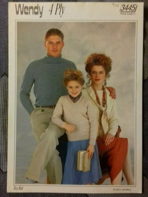 """Traditional Guernsey 5 Ply pattern Leaflet 5942 Family sweaters 24-44/"""" Chest."""