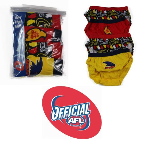 4 PACK  x BOYS ADEALIDE CROWS OFFICIAL AFL BRIEFS Kids Underwear Jocks Undies