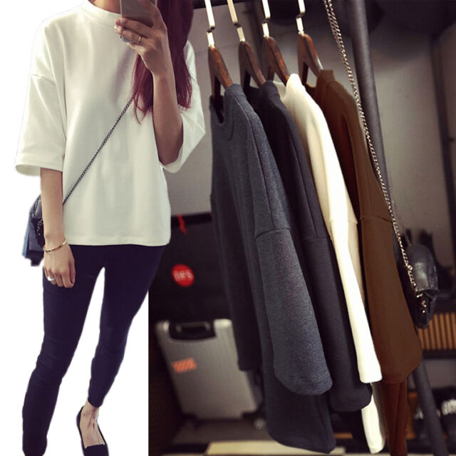 New Korean Women Ladies Casual 3/4Sleeve Blouse Shirt Party Loose T-Shirt Tops