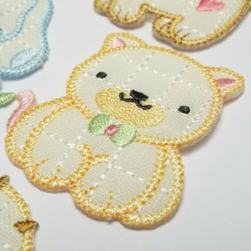 9 DESIGN Iron Or Sew On Motif Pony Cow Bear Cat Puppy Lamb Bunny Patch BUY 1 2