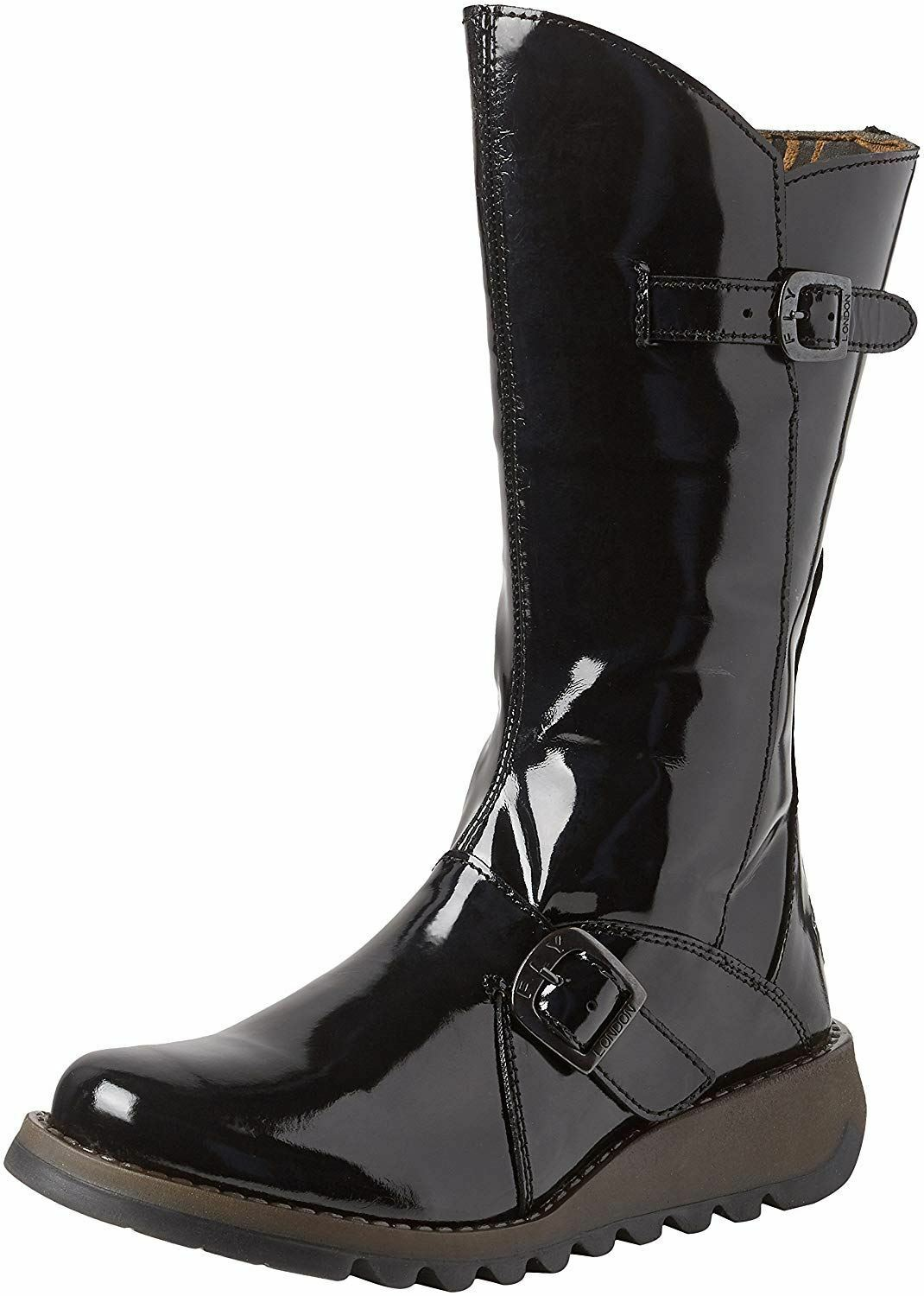 Fly london Mes 2 Black Patent Leather Womens Mid Calf Boots