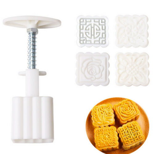 DIY Baking Mold Hand Pressing Square Flowers Moon Cake Mold Pastry Moon cake