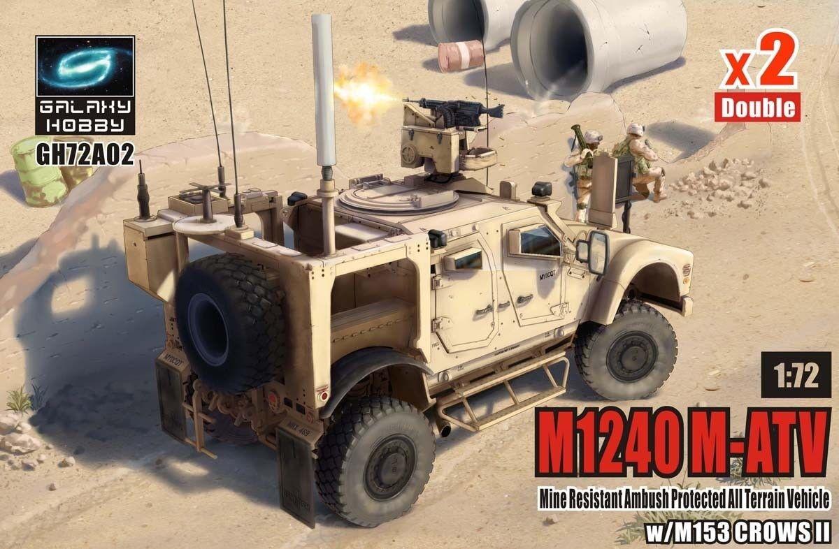 T-Model 1 72  GH72A02C M1240 M-ATV MRAP w M153 Crows II (2 Vehicles)