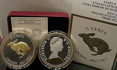 Alex Colville Designs 5-Cent Silver .99.99/% Fine 2017  5oz Rabbit
