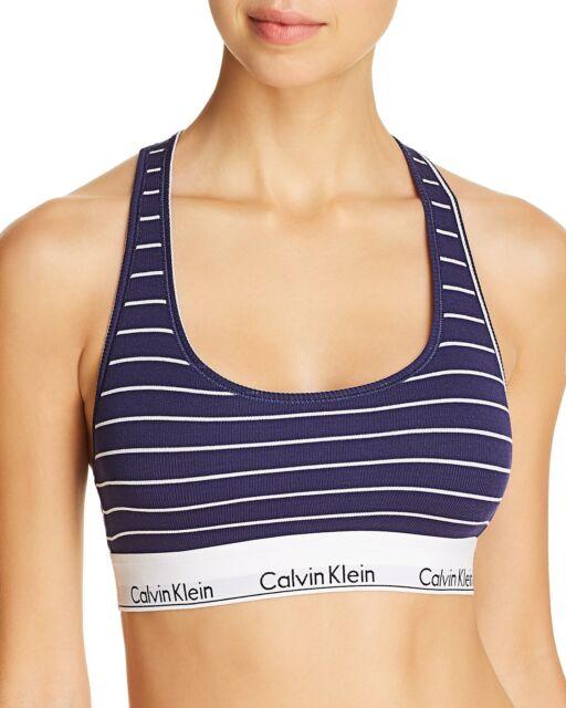 d231aeeef90 Calvin Klein Modern Cotton Ribbed Striped Bralette QF4118 Navy Blue Stripes  S