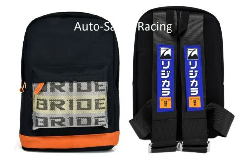 JDM Bride Racing Backpack W//SPOON TYPE ONE Racing Harness Shoulder BLACK STRAP