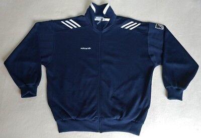 Vintage 80s ADIDAS Windbreaker Jacket Navy Blue XL