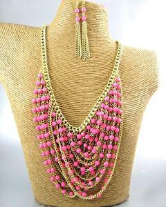 Elegant-Pink-Beads-Fashion-Necklace-Earrings-Costume-Women-Jewelry