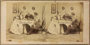 Scena Artistica Coppia Con Prete A Tavola Foto Stereo Vintage Albumina C 1858