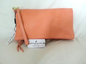 Alberta DiCanio Made in Italy Pia Foldover Clutch Bag in Salmon Pink ... eaeb1855fc