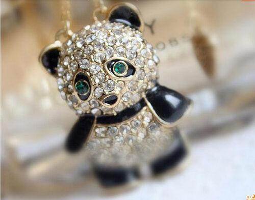 Auge Fang Strass Kristall Panda Pullover Kette Tier Anhänger Halskette WRDE