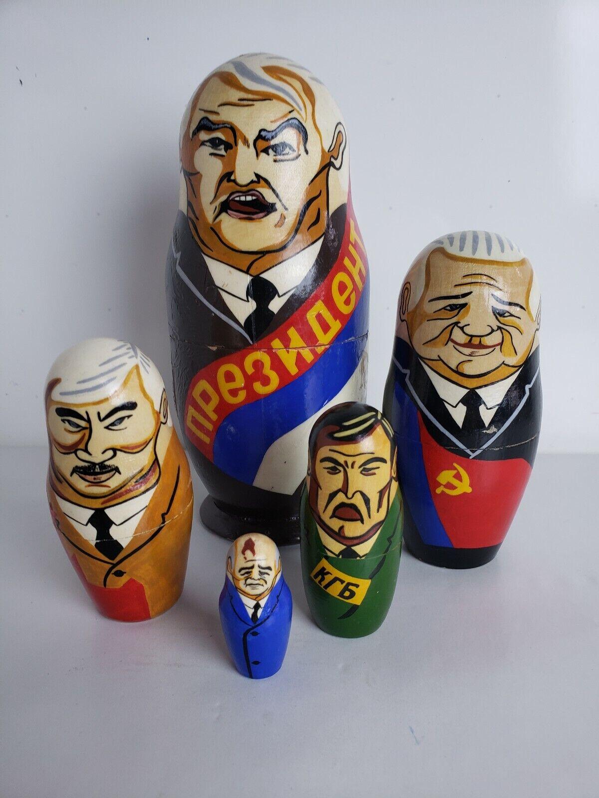 Vintage Président politiques Matriochka Russie bois sculpté poupées russes URSS b20