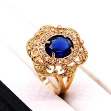 Women Lady Jewelry Sapphire Blue Crystal 18k Yellow Gold Plated CZ Ring Size 7