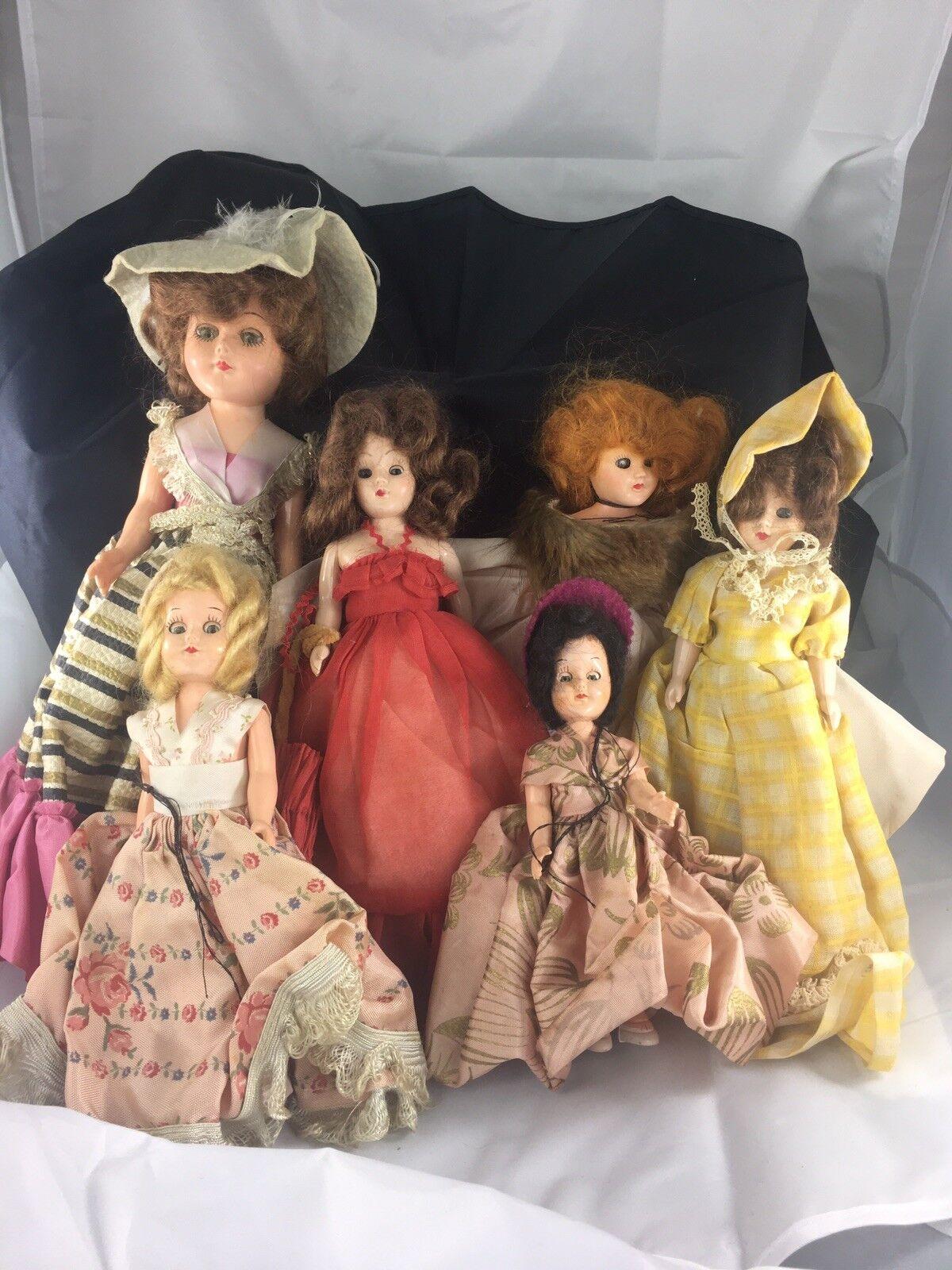 "(Lot Of 6) Vintage porcelain dolls Eyes Close When ""sleeping"" Blink Stay Open"
