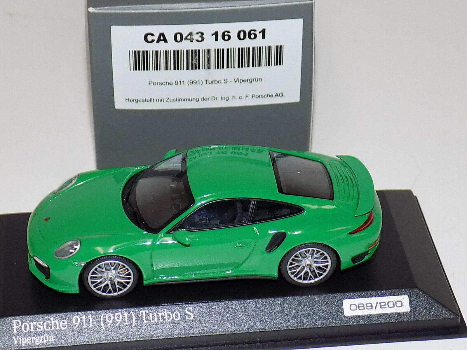 1 43 Minichamps Porsche 911 ( ( ( 991 ) Turbo Green CA04316061 380efa