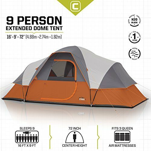 Camping  Extended Dome Tent 9Person Shelter 72'' Height Roomy Canopy Family Cabin  official website