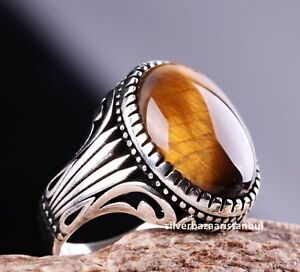 Beautiful Handcrafted 925K Solid Sterling Silver Tiger Eye Stone Men/'s Ring DHL Free Shipping