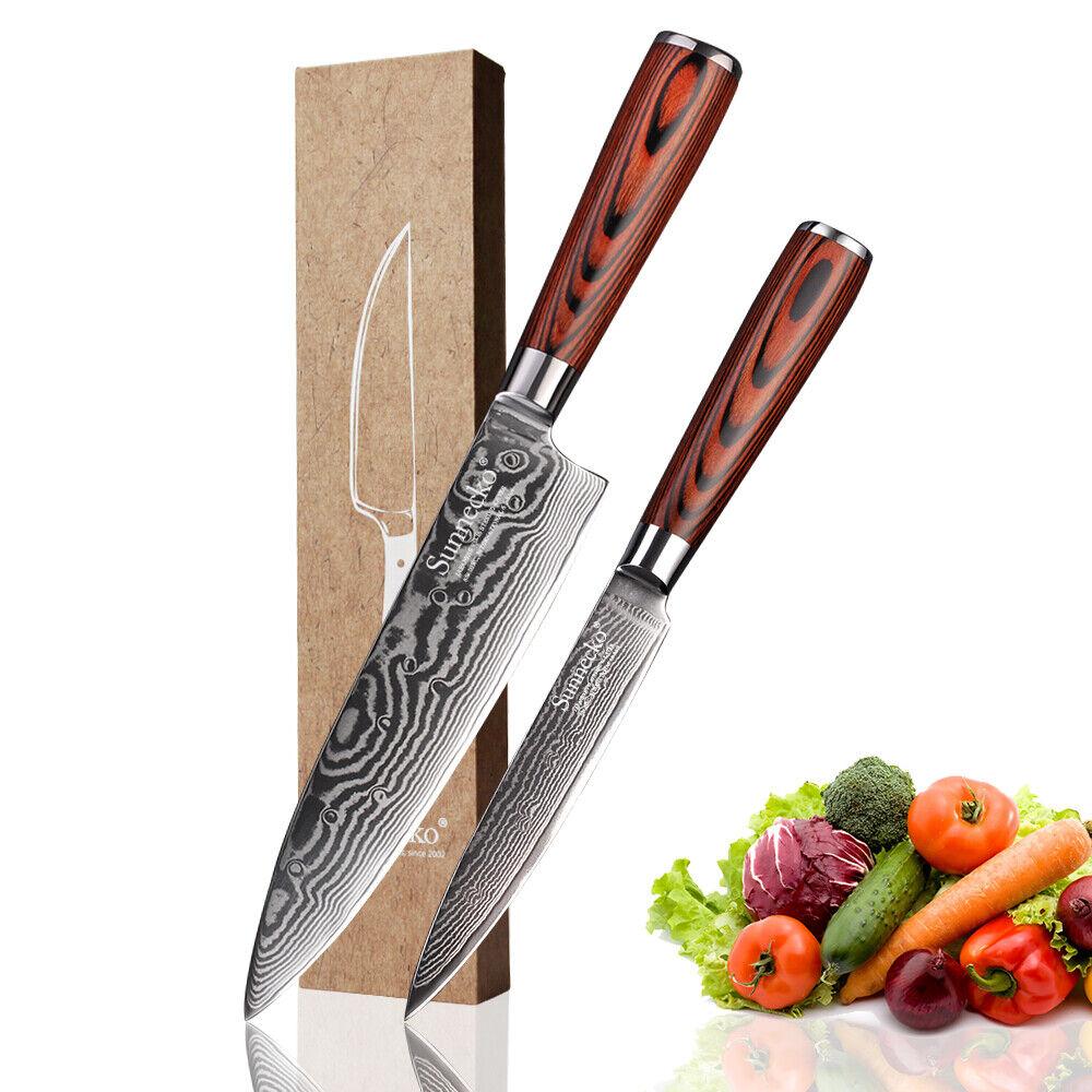 2 pcs Damas couteau de cuisine Set 8  Acier VG10 chef couteau 5  utilitaire couteau à fruits