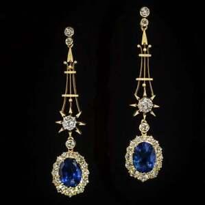 3Ct-Diamante-Redondo-Zafiro-amp-amp-Oval-Drop-amp-colgantes-pendientes-de-ORO-Amarillo-14K-FN