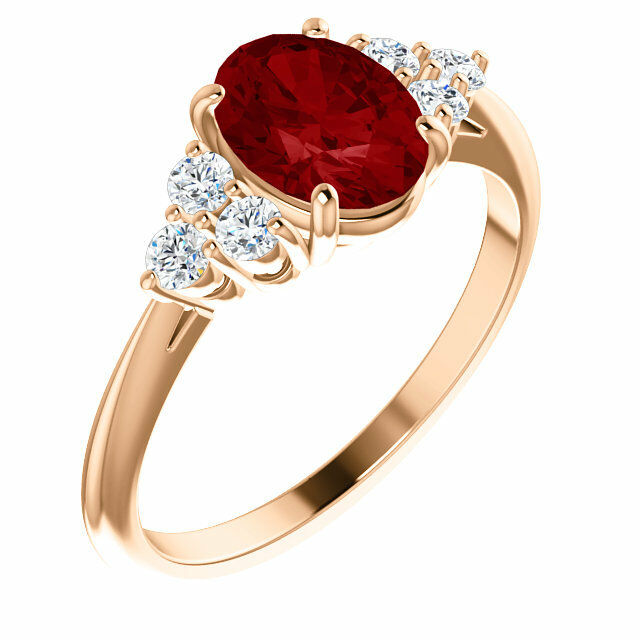 Chatham® Created Ruby & 1 4 CTW Diamond Ring In 14K pink gold