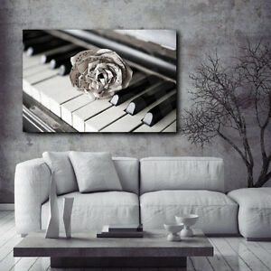 piano paper rose music notes close up art canvas poster print home