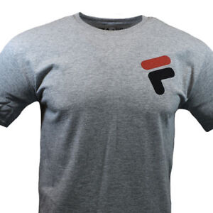 FILA-Mens-T-Shirt-S-M-L-XL-2XL-Logo-Sport-Athletic-Apparel-Graphic-Tee-Gray-NEW