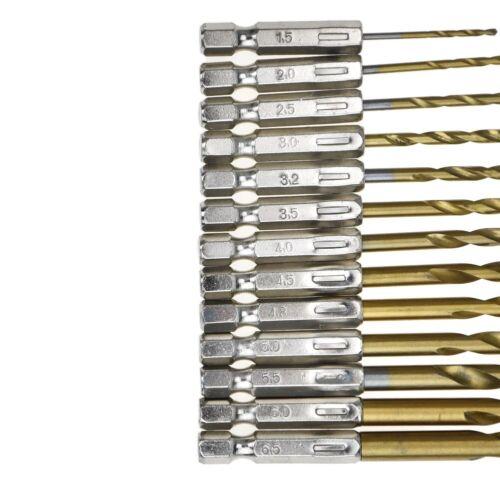 """13pc Hex Shank Titanium Drill Bit Set Electric Twist Drill Multl Bits 1//16/""""-1//4/"""""""