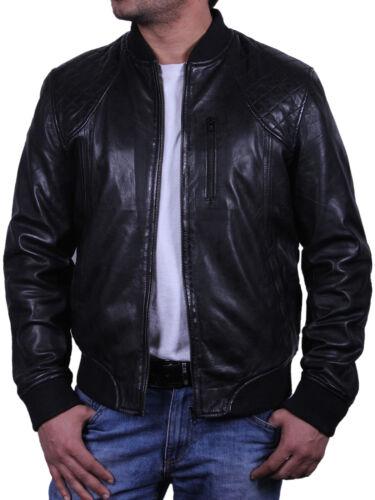Brandslock Mens Genuine Leather biker jacket VIntage Distressed