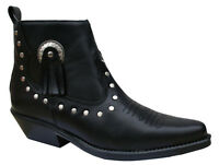 Ladies Black Leather Line Dancing Ankle Boots Shoes - Cowboy Western Style 13484