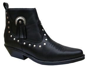 Mesdames Cuir Noir Danse En Ligne Pointure-cowboy Western Style 13484-afficher Le Titre D'origine
