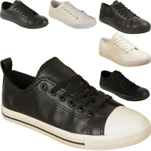 New-Mens-Womens-Lace-Up-Faux-Leather-Traiers-Pumps-Sneakers-Shoes-Sizes-Uk-4-11