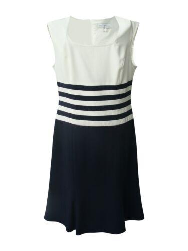 SINGH S.MADAN-Umwerfend elegantes Designer-Kleid-Etuikleid-marine/weiß-Gr.38-42