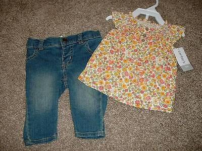 Carter's Baby Girls Floral Denim 2pc Set Smocked Outfit Size 3M 3 Months NWT NEW