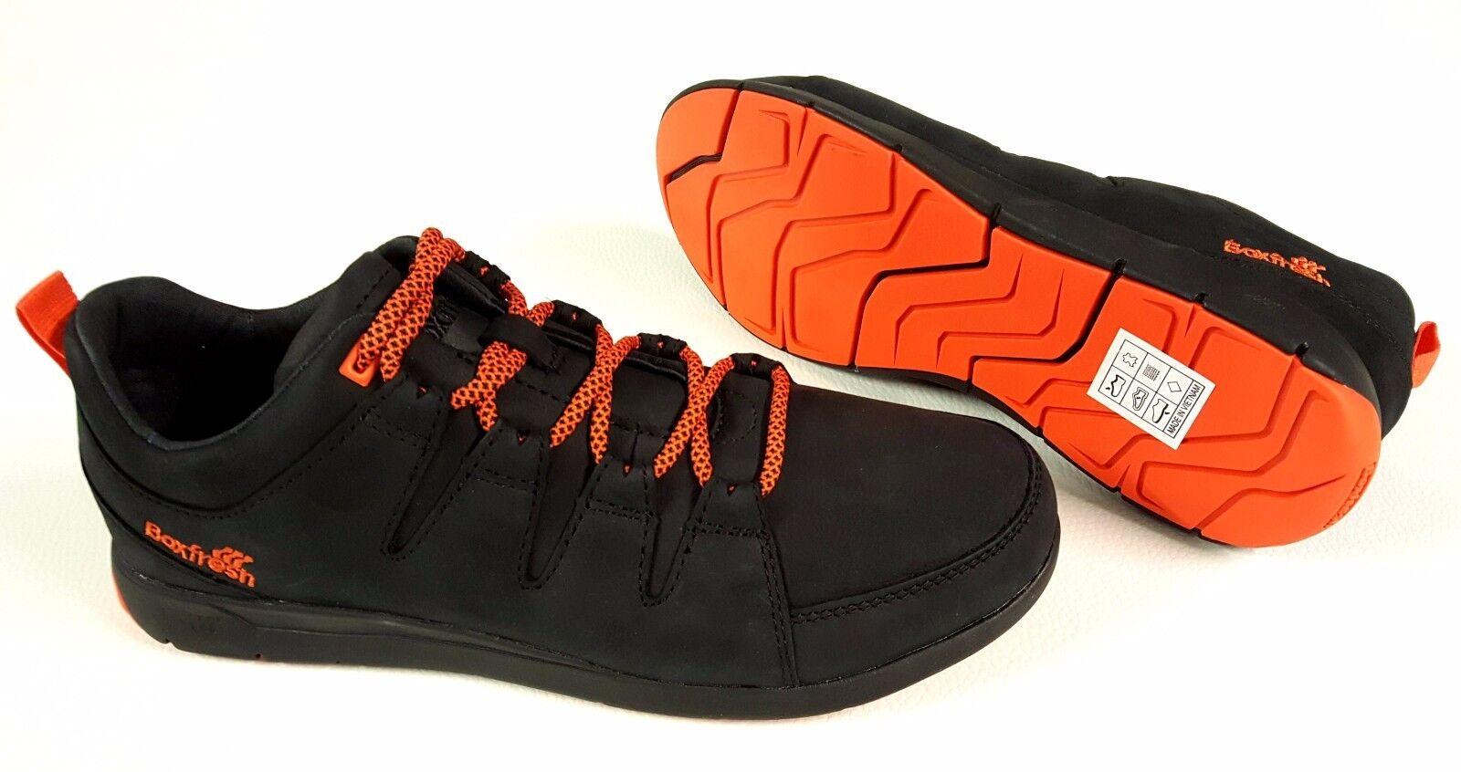 Boxfresh cortos señores cuero zapato schnürschuh negro de cuero