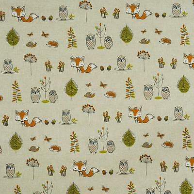 100% Cotton Fryetts Print WOODLAND FOX Fabric Curtain Upholstery 140cm wide