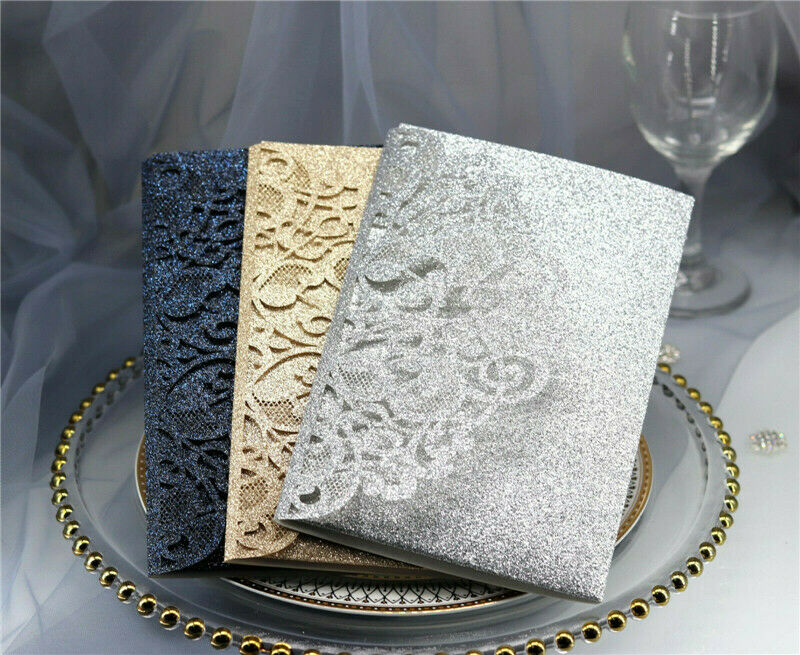 Glitzer Hochzeit Einladungskarten mit Umschlag Funkelnder Luxus Bling Bling 100X
