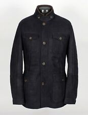$5570 - BRUNELLO CUCINELLI 100% LEATHER SUEDE SHEARLING Jacket Coat - Blue L XL