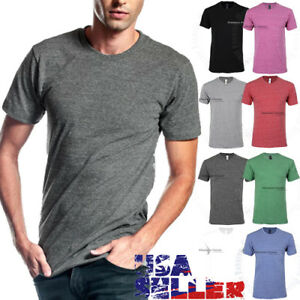 ea4a9624fa7d T Shirts Crew Neck Slim Fit Casual Plain Fashion Tri blend Cotton ...